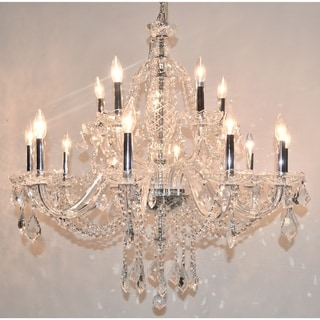 Light Chrome Finish And Clear Crystal Chandelier Two 2 Tier Large 35