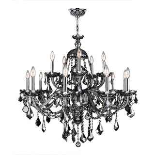 """Venetian Italian Style 15 Light Chrome Finish and Smoke Crystal Chandelier Two 2 Tier Large 35"""" x 31"""""""
