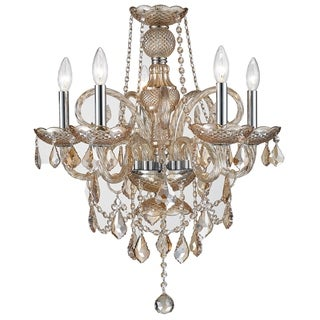 "Venetian Italian Style 5 Light Chrome Finish and Amber Crystal Chandelier Medium 20"" x 22"""