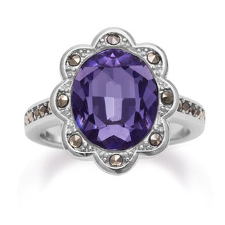 4ct Oval Shape Crystal Tanzanite and Marcasite Halo Ring