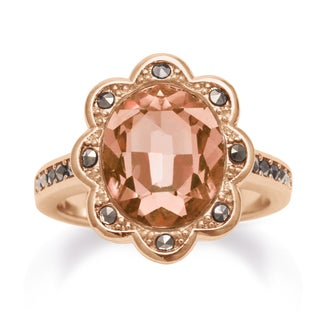 4ct Oval Shape Crystal and Marcasite Halo Ring, Rose Gold Overlay
