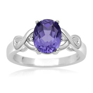 2 1/2 Carat Oval Shape Created Tanzanite and Diamond Ring