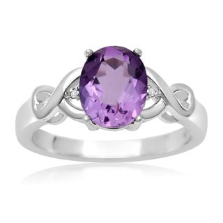 1 3/4 Carat Oval Shape Amethyst and Diamond Ring