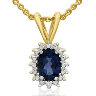 1 Carat Oval Shape Sapphire and Halo Diamond Necklace In Gold Overlay, 18 Inches