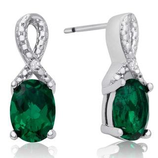 1 1/2 Carat Emerald and Diamond Ribbon Stud Earrings