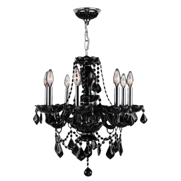 "Venetian Italian Style 8 Light Chrome Finish and Black Crystal Chandelier Medium 20"" x 20"""