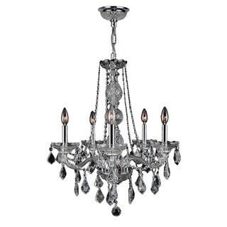 """Venetian Italian Style 5 Light Chrome Finish and Clear Crystal Chandelier Medium 21"""" x 26"""""""