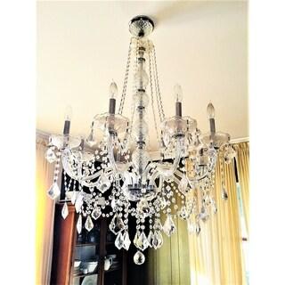 "Venetian Italian Style 8 Light Chrome Finish and Clear Crystal Chandelier Large 28"" x 34"""