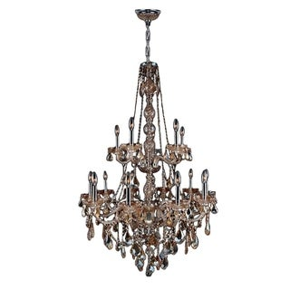 """Venetian Italian Style 15 Light Chrome Finish and Amber Crystal Chandelier Two 2 Tier Large 33"""" x 52"""""""
