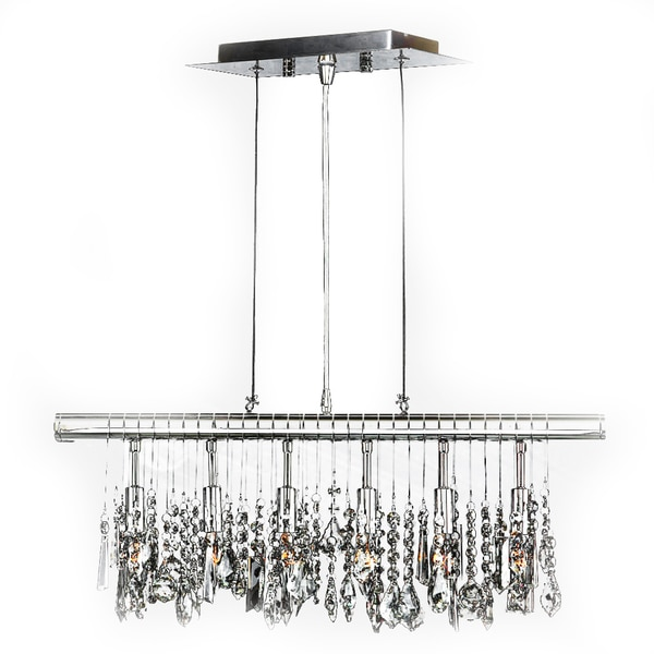 Sparkling faceted crystal 6 light kitchen island linear pendant large
