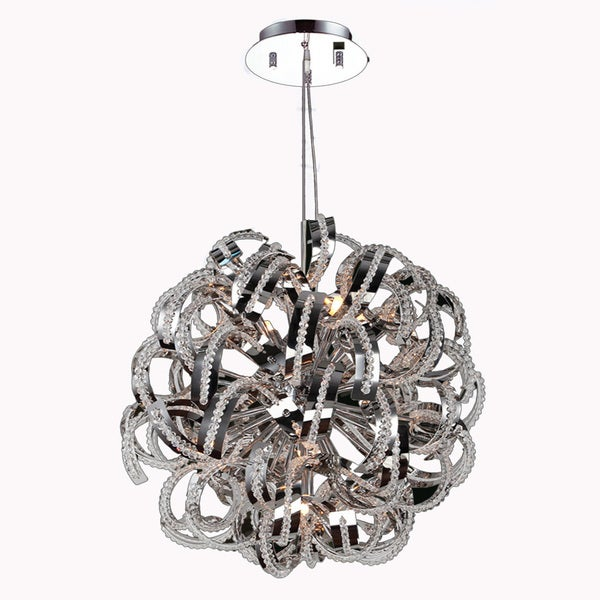 "Ribbon Style 9 Light Chrome Finish Crystal Pendant Suspension Chandelier Medium 20"""" Round"