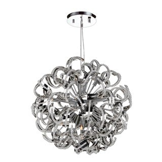 "Ribbon Style 13 Light Chrome Finish Crystal Pendant Suspension Chandelier Large 24"" Round"