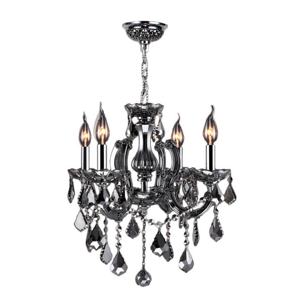 "Maria Theresa 4 Light Chrome Finish and Smoke Crystal Glam Chandelier Medium 18"""" x 18"""""