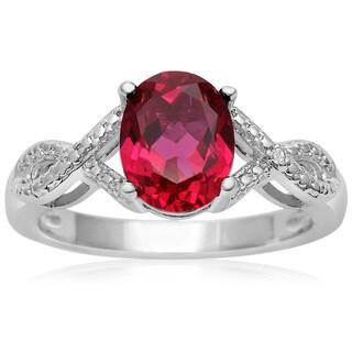 2 1/2 Carat Oval Shape Ruby and Diamond Ribbon Ring