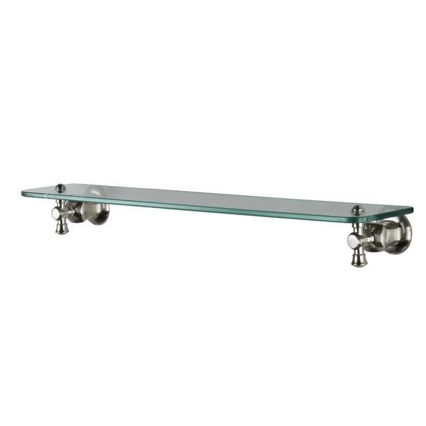Verdanza 24-inch W Zinc Glass Bath Shelf in Brushed Nickel