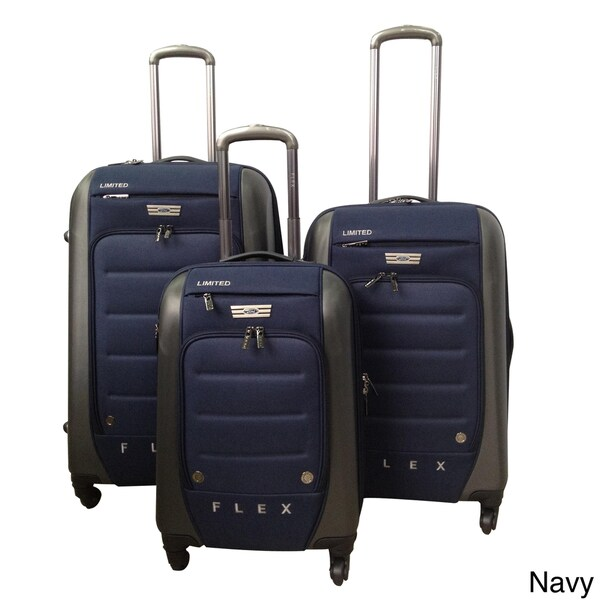 Traveler's Club Ford Flex Series 3-piece Expandable Spinner Hybrid Luggage Set (Navy)(As Is Item)