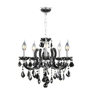 "Maria Theresa 8 Light Chrome Finish and Black Crystal Glam Chandelier Medium 22"" x 22"""