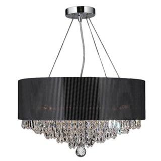 Light Chrome Crystal Ball Prism Chandelier Black Acrylic Drum Shade