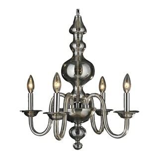 "Murano Venetian Italian Style 4 Light Blown Glass in Golden Teak Finish Chandelier Medium 18"" x 22"""