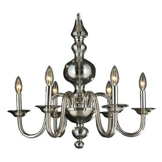 "Murano Venetian Italian Style 6 Light Blown Glass in Golden Teak Finish Candelier Large 24"" x 22"