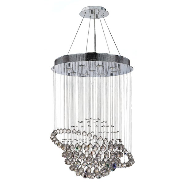 "Galaxy 9 Light Chrome Finish and Clear Crystal Modern Chandelier Large 26"" x 36"""
