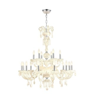 "Venetian Italian Style 18 Light Chrome Finish and Golden Teak Crystal Chandelier Large Two 2 Tier 36"" x 39"""
