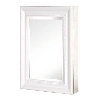 Pegasus 15-inch x 26-inch Recessed or Surface Mount Mirrored Medicine Cabinet with Deco Framed Door in White