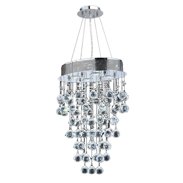"Modern Contemporary 4 Light Chrome Finish and Clear Crystal Ball Prism Chandelier Mini 16"" Oval Shape"