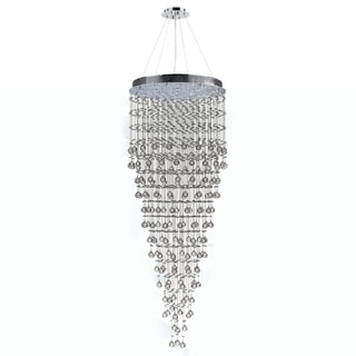 Modern Contemporary 16-light Chrome Finish and Clear Crystal Ball 30-inch Round x 80-inch Long Large Prism Chandelier
