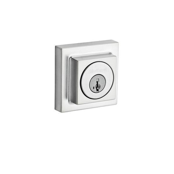 Kwikset 994 Contemporary Double Cylinder Satin Chrome Square Deadbolt Featuring SmartKey