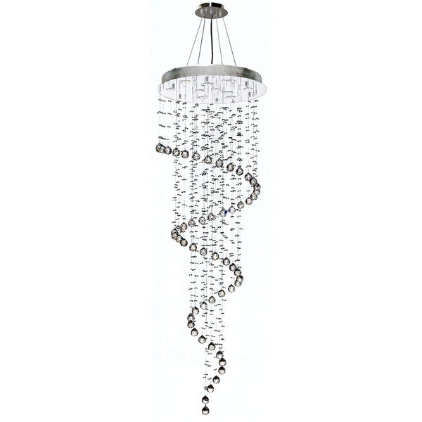 10 Light Chrome Finish And Clear Crystal Spiral Rain Drop Chandelier