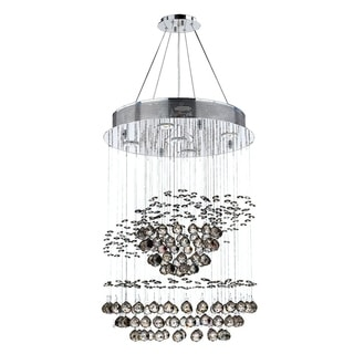 """Modern Contemporary 5 Light Chrome Finish and Clear Crystal Spiral Rain Drop Chandelier Medium 18"""""""" Round x 26"""""""" Long"""