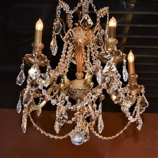 """Italian Elegance 4 Light French Gold Finish and Clear Crystal Traditional Chandelier Medium 17"""" x 21"""""""