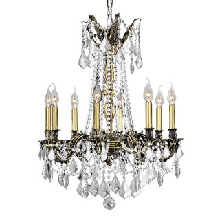 """Italian Elegance 8 Light Antique Bronze Finish and Clear Crystal Traditional Chandelier Large 24"""" x 30"""""""