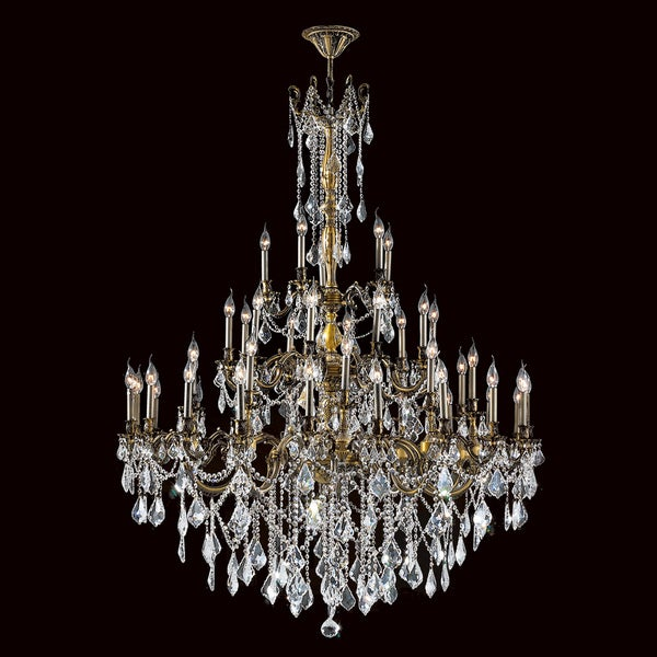 "Italian Elegance 45 Light Antique Bronze Finish and Clear Crystal Traditional Chandelier Extra Large Three 3 Tier 54"""" x 66"""""