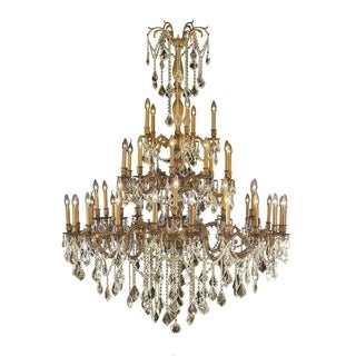 """Italian Elegance 45 Light French Gold Finish and Golden Teak Crystal Traditional Chandelier Extra Large Three 3 Tier 54"""" x 66"""""""