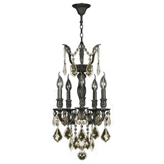 """French Imperial Collection 5 Light Flemish Brass Finish and Golden Teak Crystal Traditional Chandelier Mini 13"""" x 23"""""""