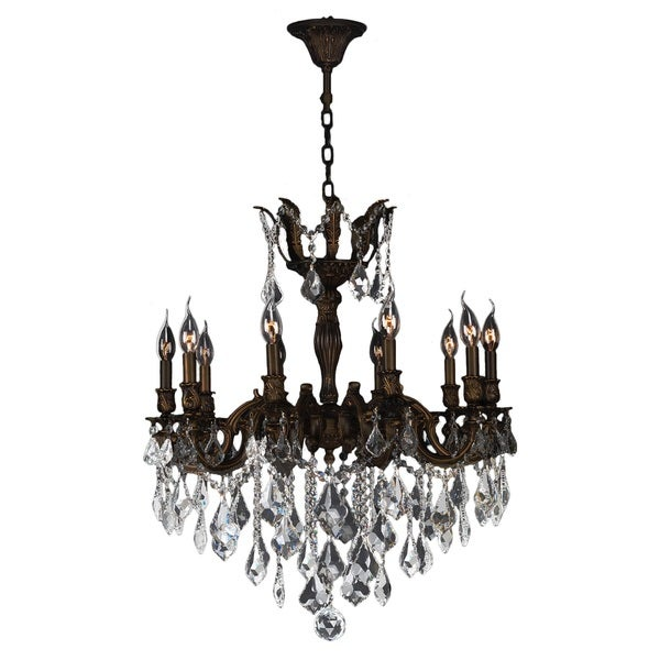 "French Imperial Collection 10 Light Flemish Brass Finish and Clear Crystal Traditional Chandelier Large 26"" x 29"""