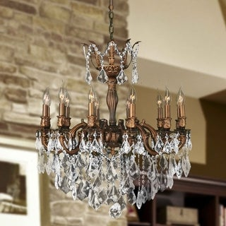 "French Imperial Collection 12 Light French Gold Finish and Clear Crystal Traditional Chandelier Large 27"" x 30"""