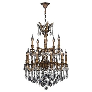 """French Imperial Collection 15 Light Antique Bronze Finish and Clear Crystal Traditional Chandelier Large Two 2 Tier 24"""" x 35"""""""