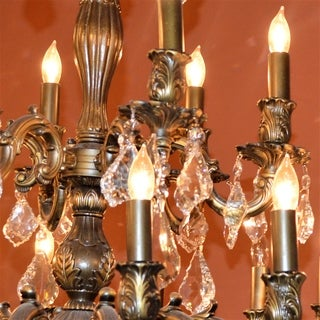 """French Imperial Collection 18 Light Antique Bronze Finish and Clear Crystal Traditional Chandelier Large Two 2 Tier 30"""" x 39"""""""