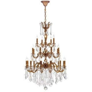 """French Imperial Collection 25 Light French Gold and Clear Crystal Traditional Chandelier Large Three 3 Tier 36"""" x 50"""""""