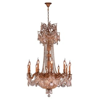"""Regal Estate Collection 15 Light French Gold Finish and Golden Teak Crystal Traditional Chandelier Large 30"""" x 47"""""""