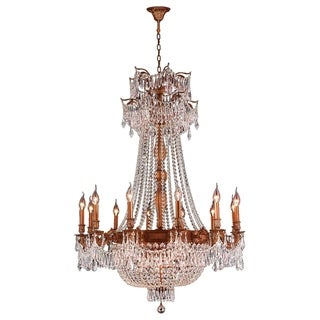 """Regal Estate Collection 18 Light French Gold Finish and Clear Crystal Traditional Chandelier Large 36"""" x 49"""""""