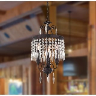 """Traditional 3 Light Flemish Brass Finish and Clear Clystal Mini Chandelier 12"""" x 21"""""""