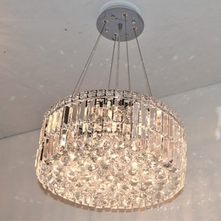"Contemporary 12 Light Chrome Finish and Faceted Clear Crystal Medium Chandelier 20"" Round"