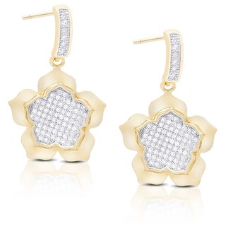 Dolce Giavonna Gold Over Sterling Silver Cubic Zirconia Dangling Flower Earrings
