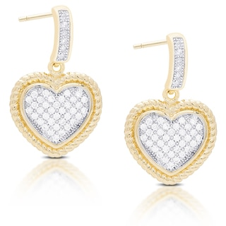 Dolce Giavonna Gold Over Sterling Silver Cubic Zirconia Dangling Heart Earrings