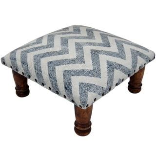 Herat Oriental Indo Handmade Printed-Cotton Upholstered Wooden Footstool