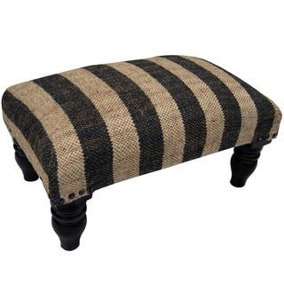 Herat Oriental Indo Handmade Jute Upholstered Wooden Stool